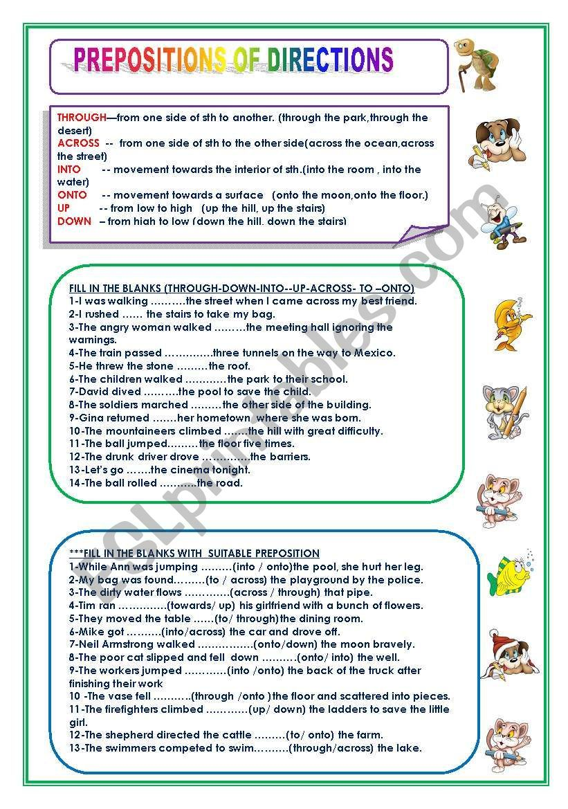 PREPOSITION OF DIRECTION worksheet Prepositions, Grammar