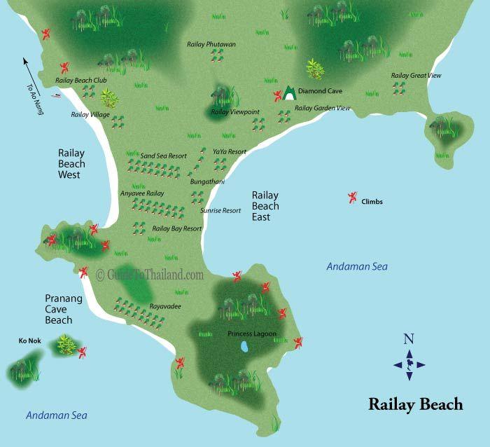 Map Of Railay Beach Rock Climbs Krabi Thailand