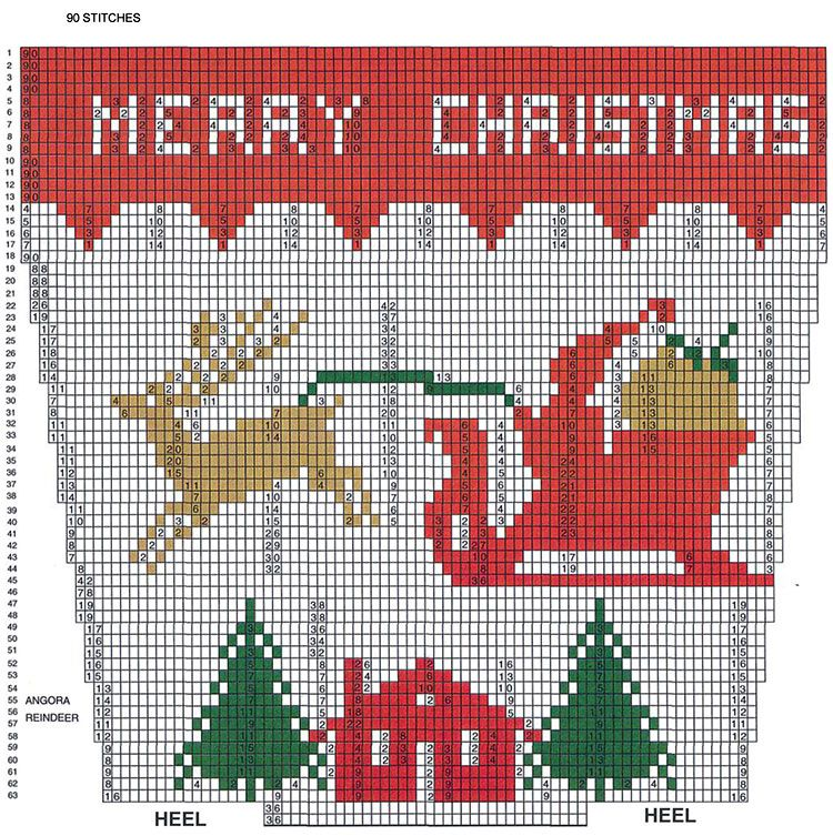 Reindeer and Sleigh Stocking Pattern #9002C chart. Christmas graph ...