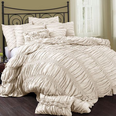 Ruched comforter set in ivory. Product: Queen: 1 Comforter