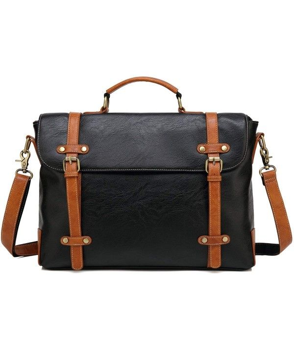 16df9141f79e Amazon.com: Ronts Mens PU Leather Briefcase Lawyer Attache Case with ...