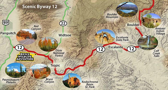 Map of scenic Byway 12 with links to area attractions favorite