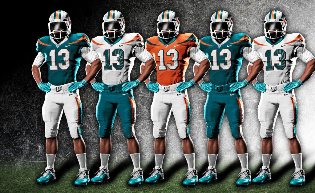 Dolphin Miami New Nfl Uniforms Dolphins The Fins And