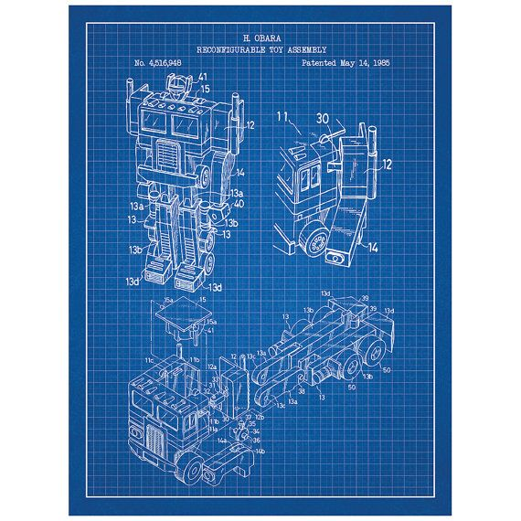 Optimus prime g1 toys and collectibles patent poster blueprint optimus prime g1 toys and collectibles patent poster blueprint style screen print hand malvernweather Gallery