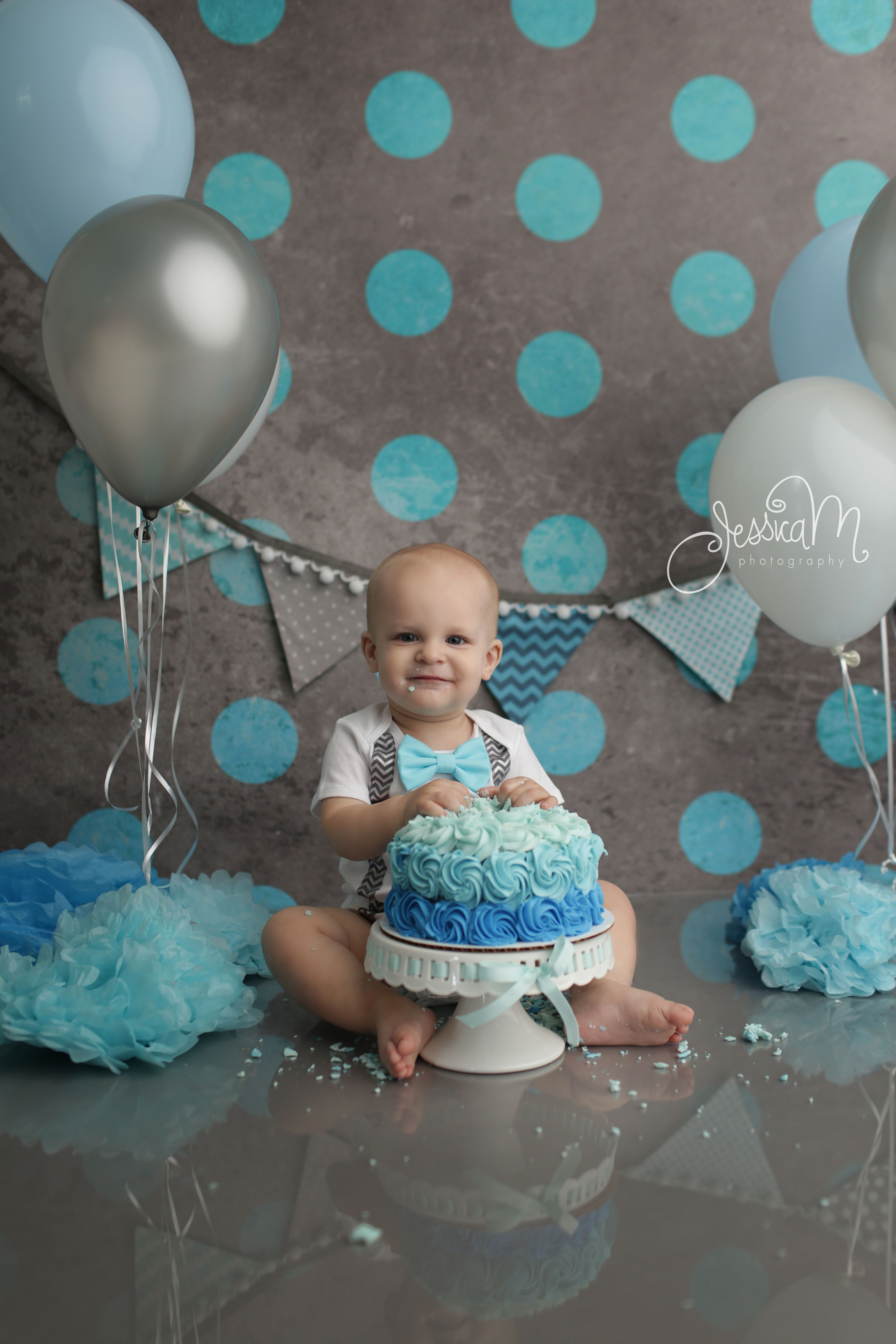 Grey And Blue First Birthday Cake Smash Session For Boys
