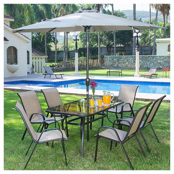 c3f17c5ab54 Juego de jardín 6 sillas beige, mesa de vidrio templado y sombrilla.  Muebles para