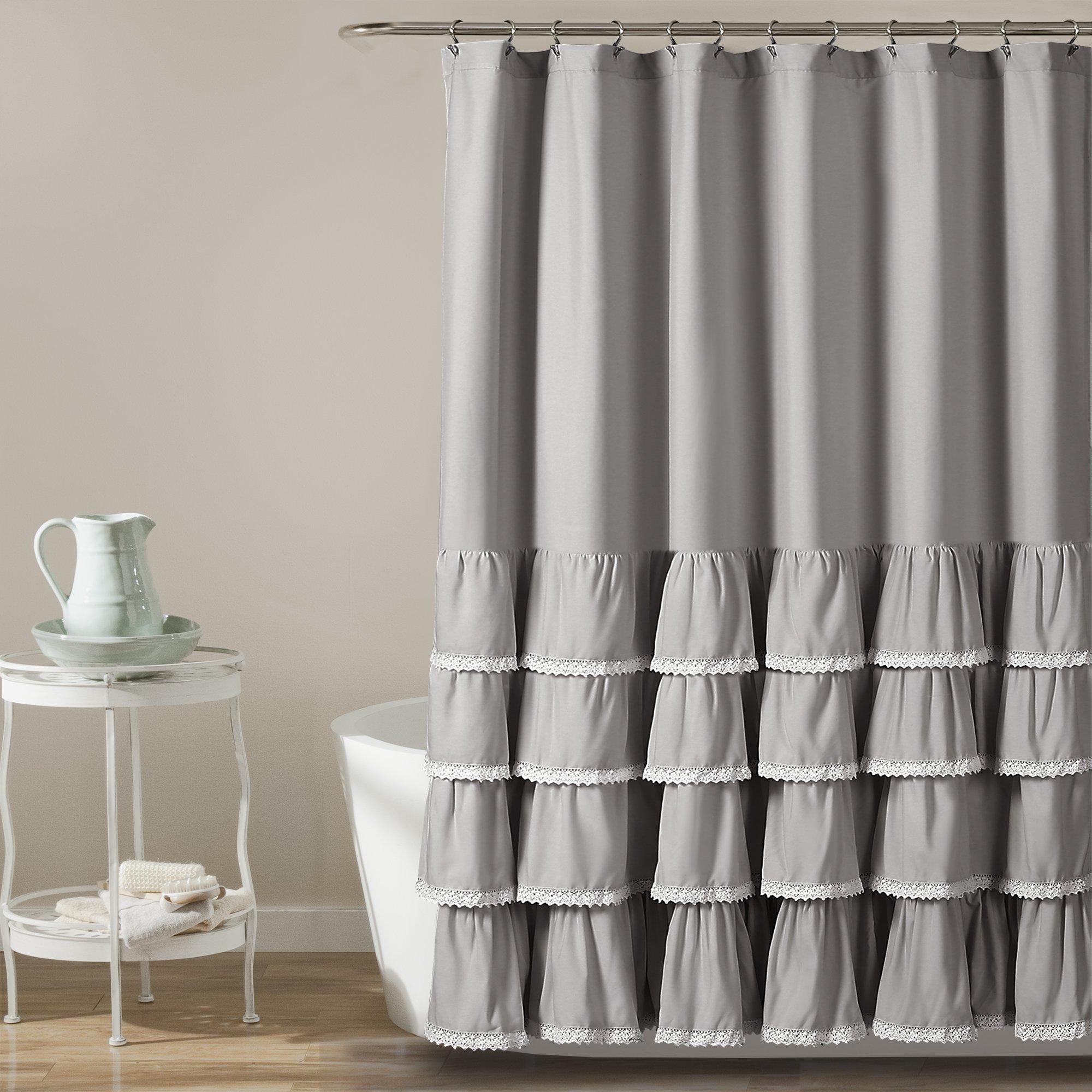 ella lace ruffle shower curtain in 2021 ruffle shower curtains lace shower curtains gray shower curtains