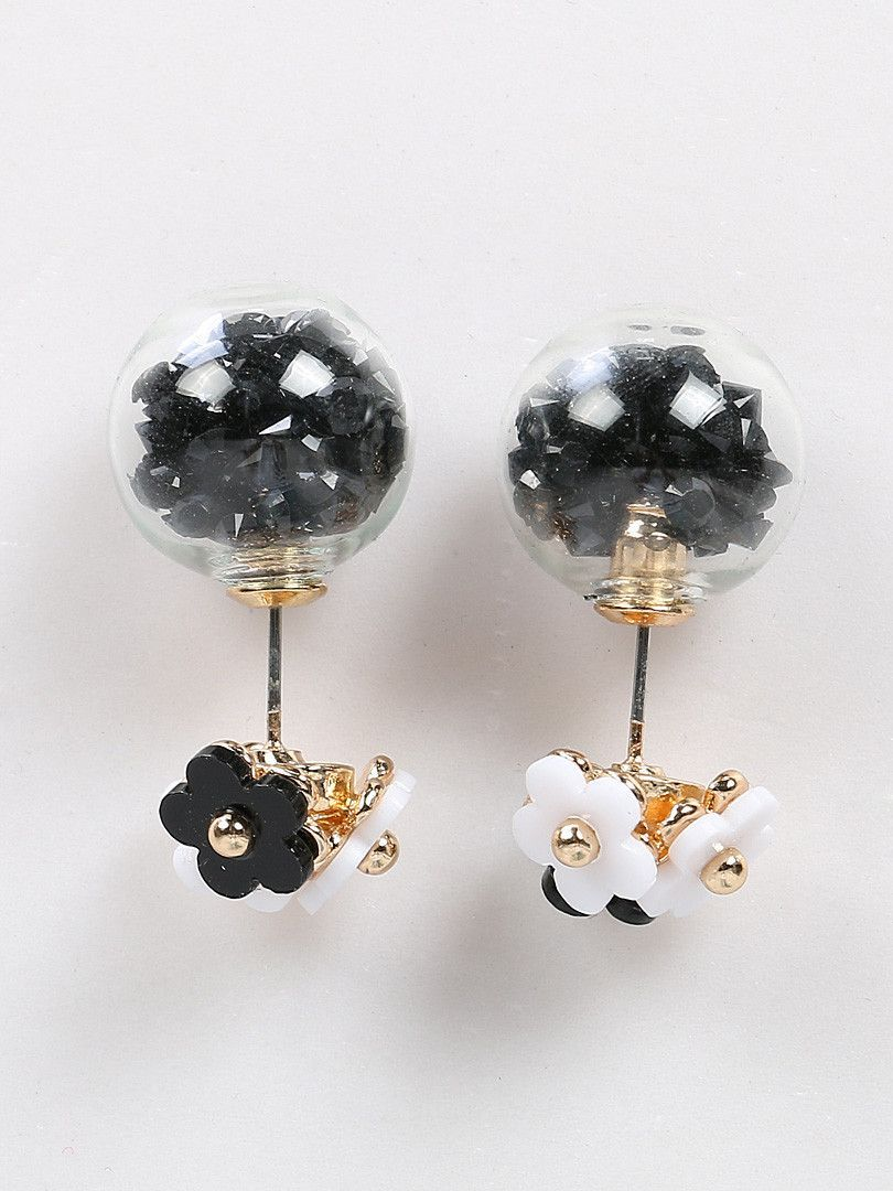 Black Stone Decorated Ball And Bead Flower Earrings