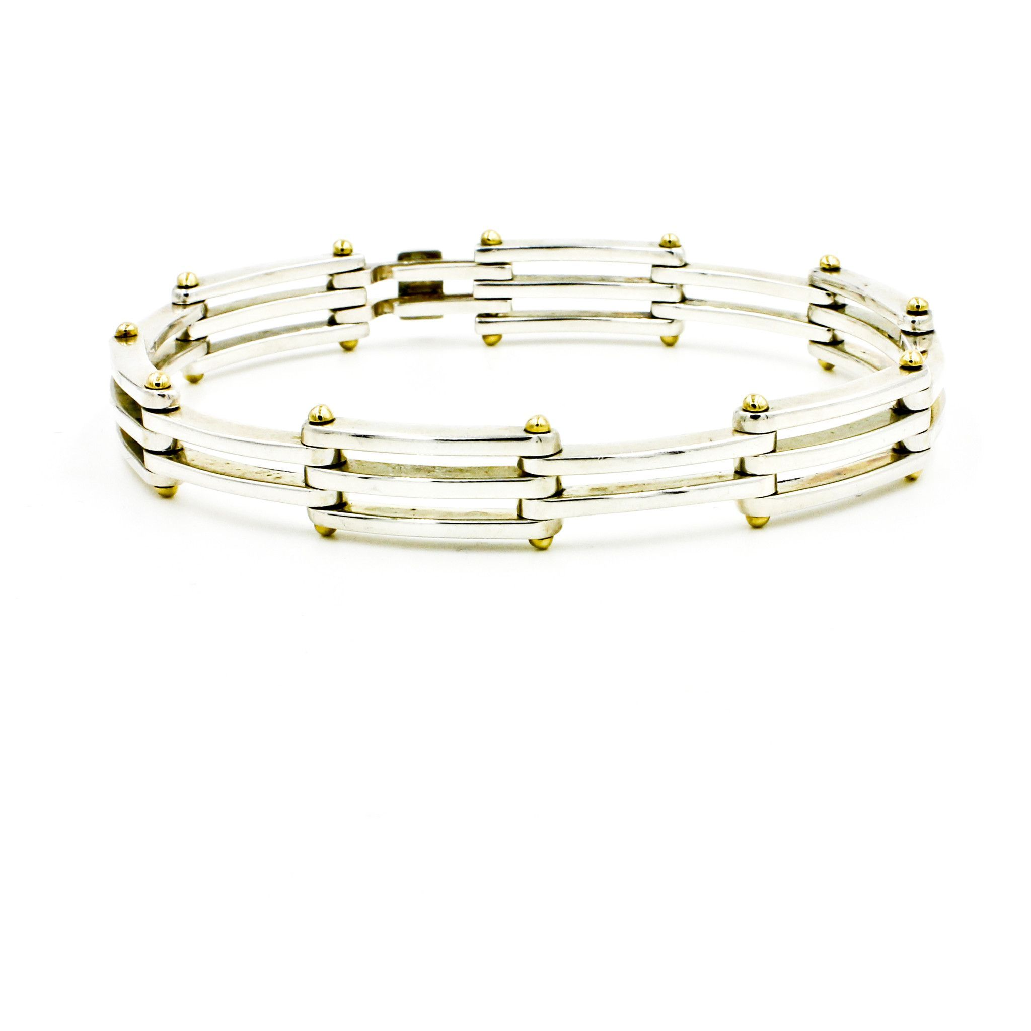 9731f82a3 Tiffany & Co. Gatelink Bracelet in 925 Sterling Silver and 18k Yellow Gold  Length 8