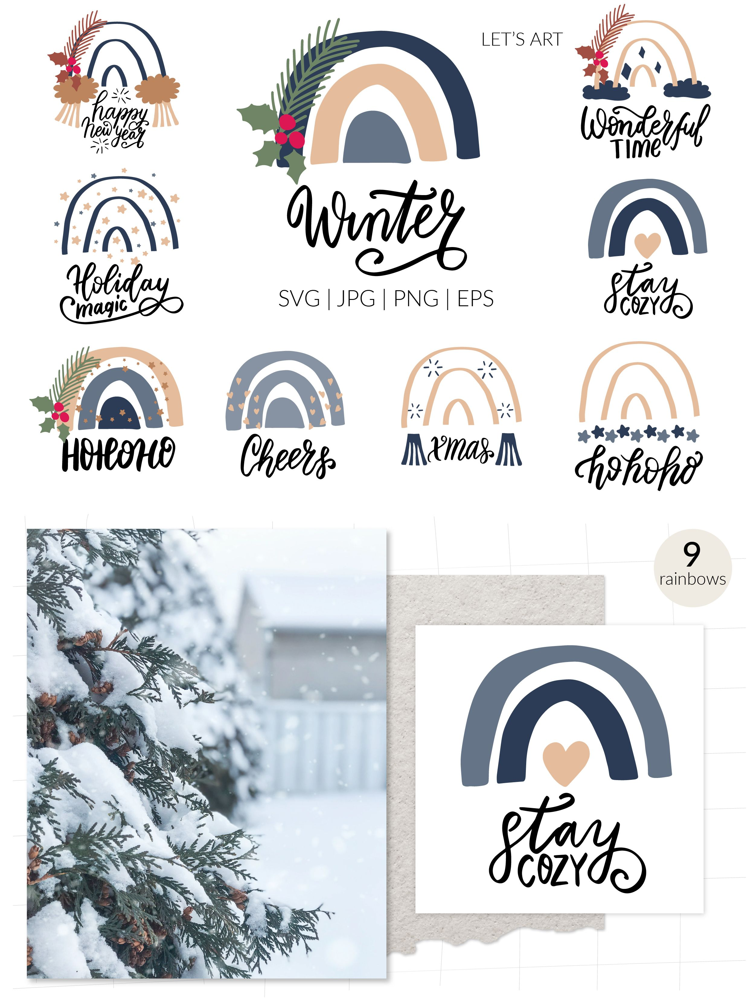 Navy Christmas rainbows svg with funny Christmas quotes. Rainbows clipart. Christmas quotes svg.