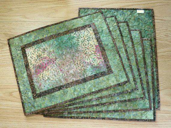 Batik Placemats Quilted Autumn Scroll Batik Olive 447 Etsy Placemats Place Mats Quilted Batik Fabric