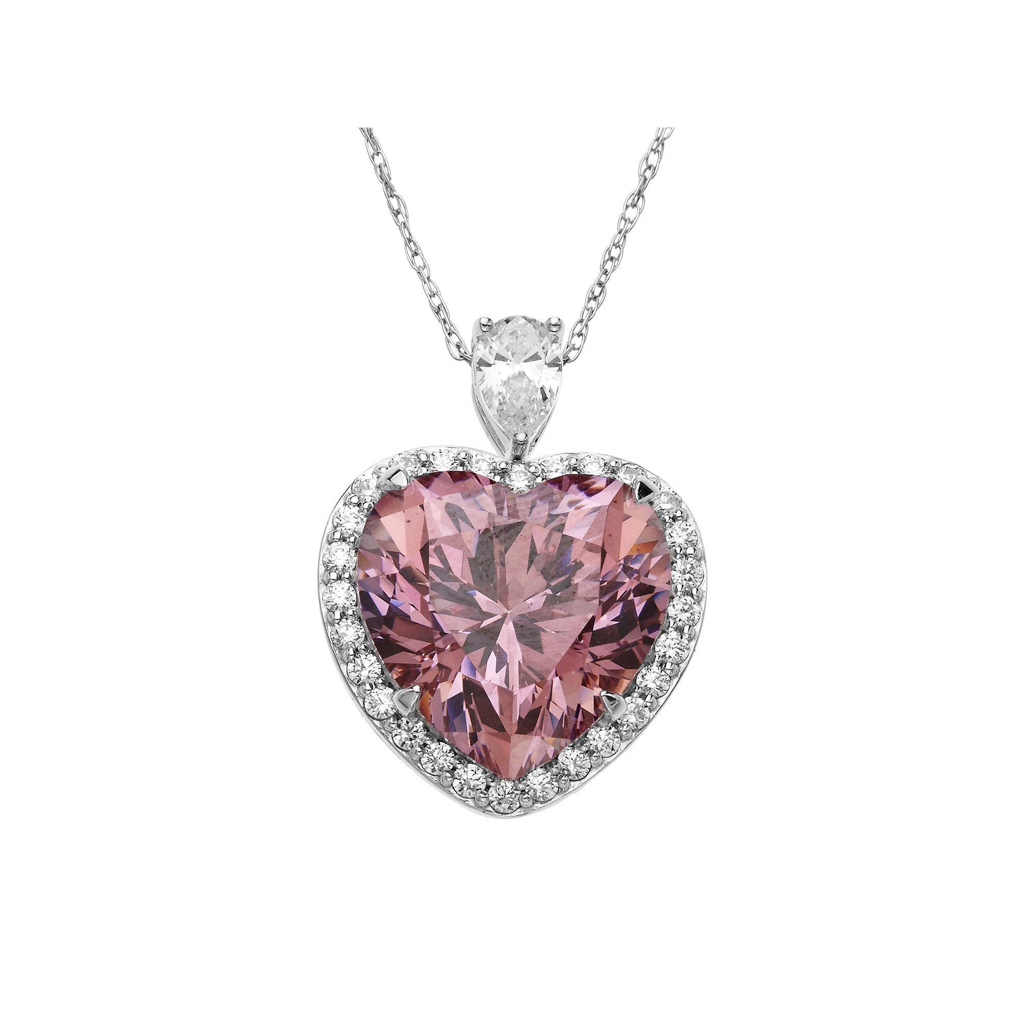 32f5bdaf9 Emotions Sterling Silver Heart Frame Pendant - Made with Swarovski Zirconia,  Women's, Pink