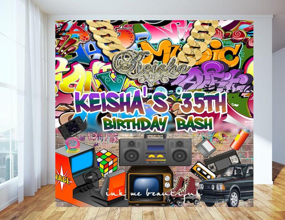 Photography Backdrop Hip Hop 80 S 90 S Party Decoration