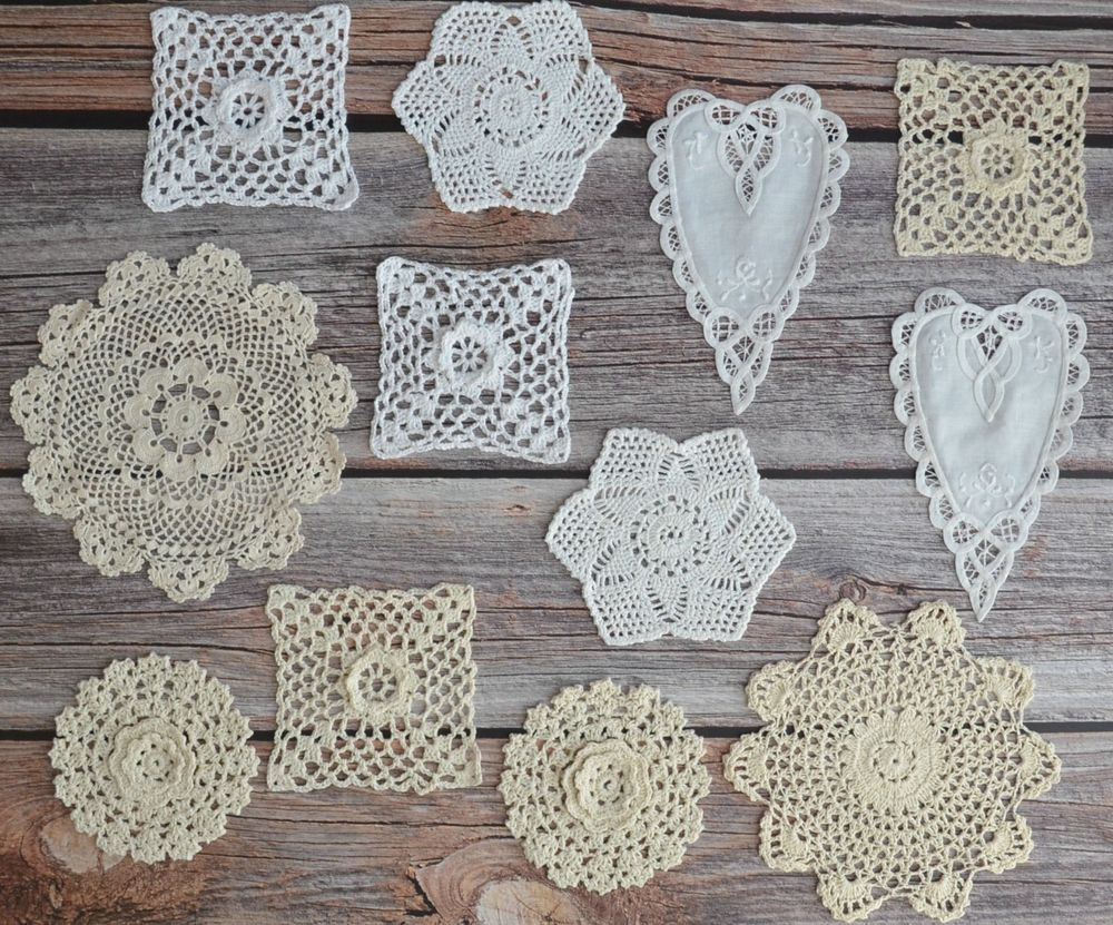 12 Small Crochet Battenburg Lace Doilies Lot In Bulk Floral Heart
