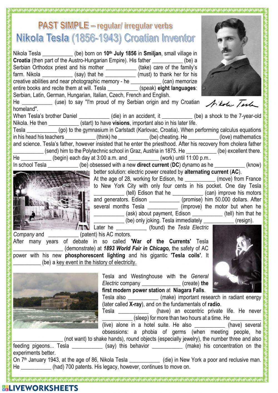 Past Simple Nikola Tesla Interactive Worksheet Nikola Tesla Tesla How To Memorize Things [ 1413 x 1000 Pixel ]