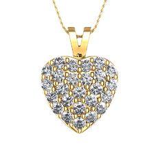 Colgante Corazón de Diamantes 1/2 qt con Cuentas en Oro Amarillo 18k
