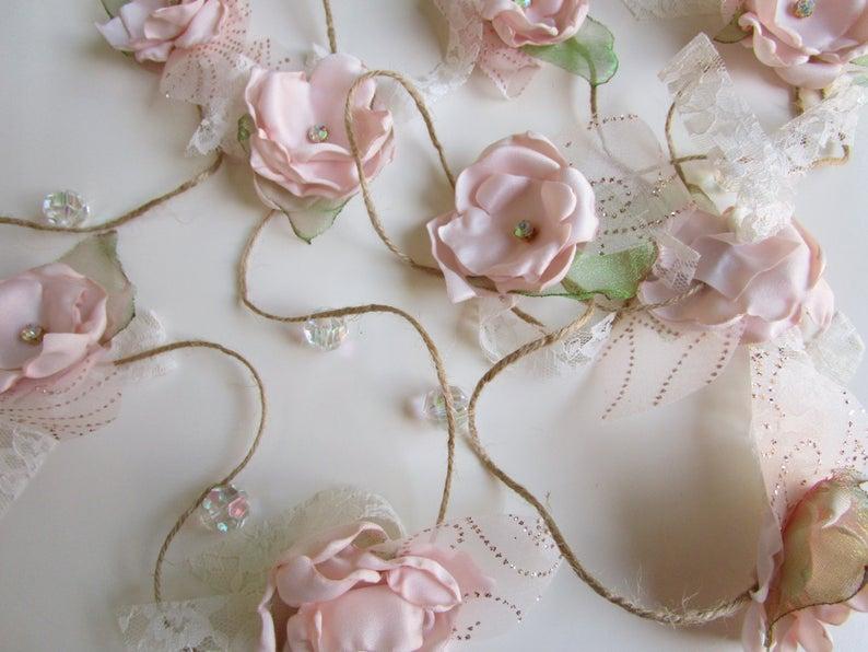 Fabric Flower Garland Rustic Wedding Garland Backdrop Etsy Fabric Flowers Wedding Garland Backdrop Garland Backdrops