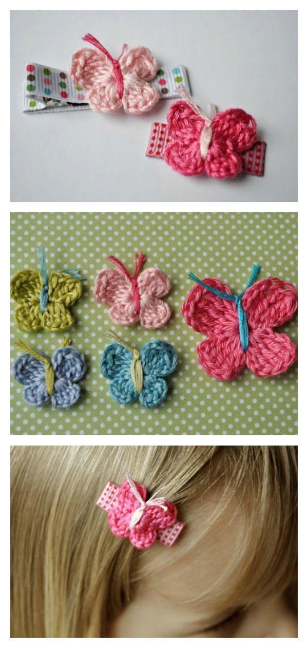 Hair Clip Free Crochet Patterns | Ganchillo, Apliques y Mariposas