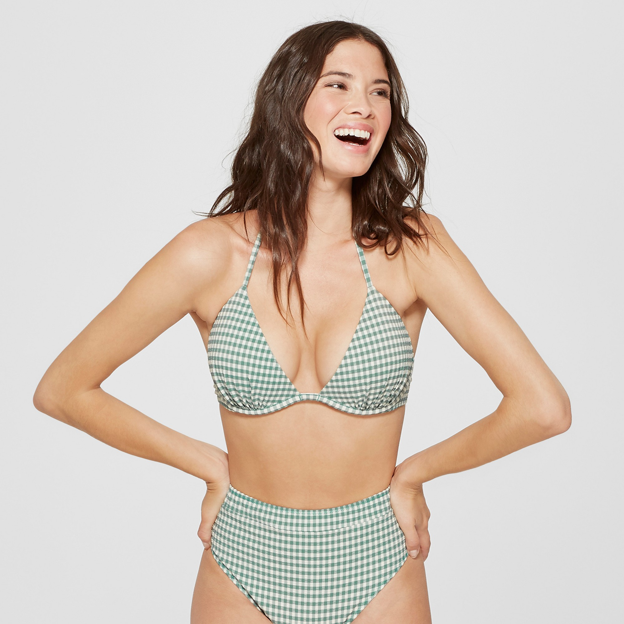 70c0254b75 Women s Tropics Push Up Triangle Seersucker Bikini Top - Shade   Shore Sage  Gingham 32DD