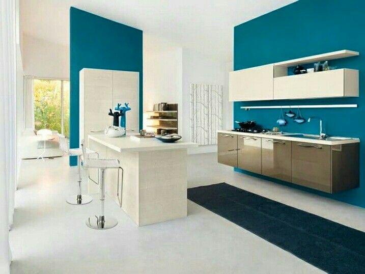 Salon Et Cuisine Bleu Petrole Peinture Murale Cuisine Cuisine