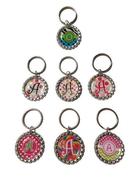 alphabet bottle cap keychain you pick design and letter party