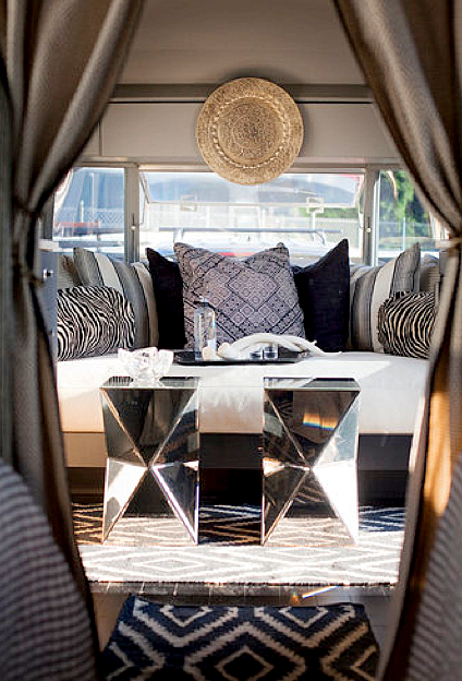 Attrayant Living Rooms   West Elm Faceted Mirror Side Table Taupe Gray Silk Drapes  Daybed Gray Blue Pillows Navy Blue Diamonds Rug Chic Trailer Design
