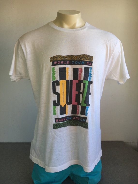 90a1cf31d SQUEEZE Shirt 1988 Vintage/ BABYLON and ON World by sweetVTGtshirt 80s  Tshirts, Vintage Rock