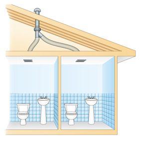Use An In Line Fan To Vent Two Bathrooms Bathroom Ventilation Bathroom Vent Fan Bathroom Design Layout