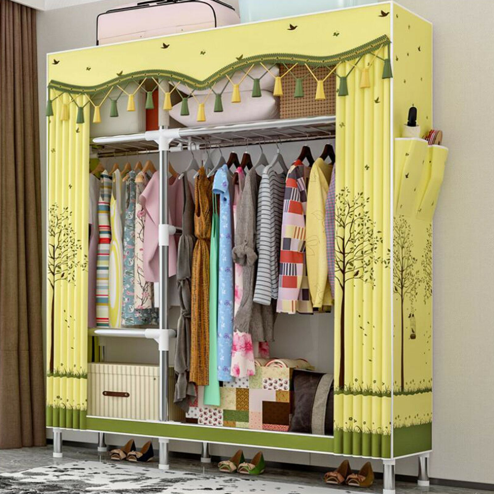 68 Heavy Duty Closet Storage Organizer Wardrobe Clothes Rack