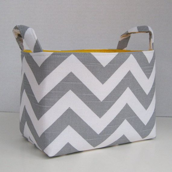 Superior Items Similar To Storage Basket Desk Organizer Container Basket Bin   Gray  White Chevron Zigzag Fabric   Choose The Inside/ Lining Fabric On Etsy