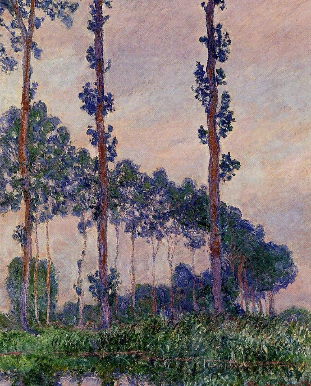 i tre alberi tempo grigio (1891)- Claude Monet | Monet, Artisti famosi,  Claude monet