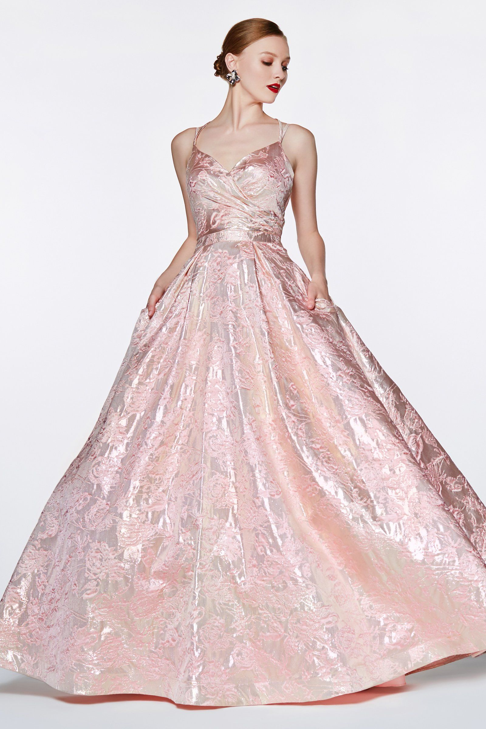 Pink Floral Brocade Gown with Open Back by Cinderella Divine CR827 | Gowns,  Formal ball gown, Evening dresses prom