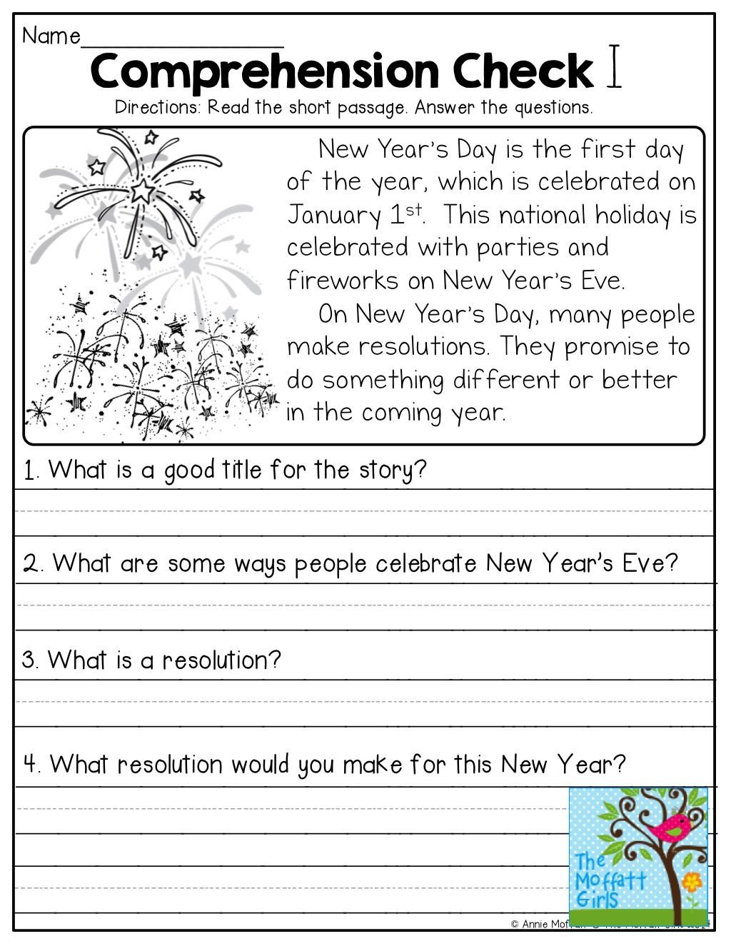 Free 1st Grade Reading Comprehension Worksheets Pictures
