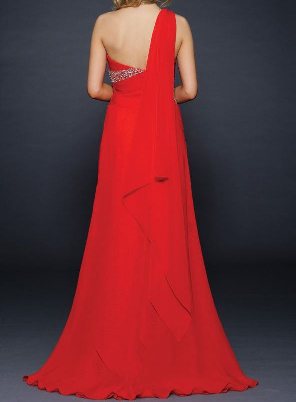 Adorable One-Shoulder Beading Floor-Length Evening/Prom Dress