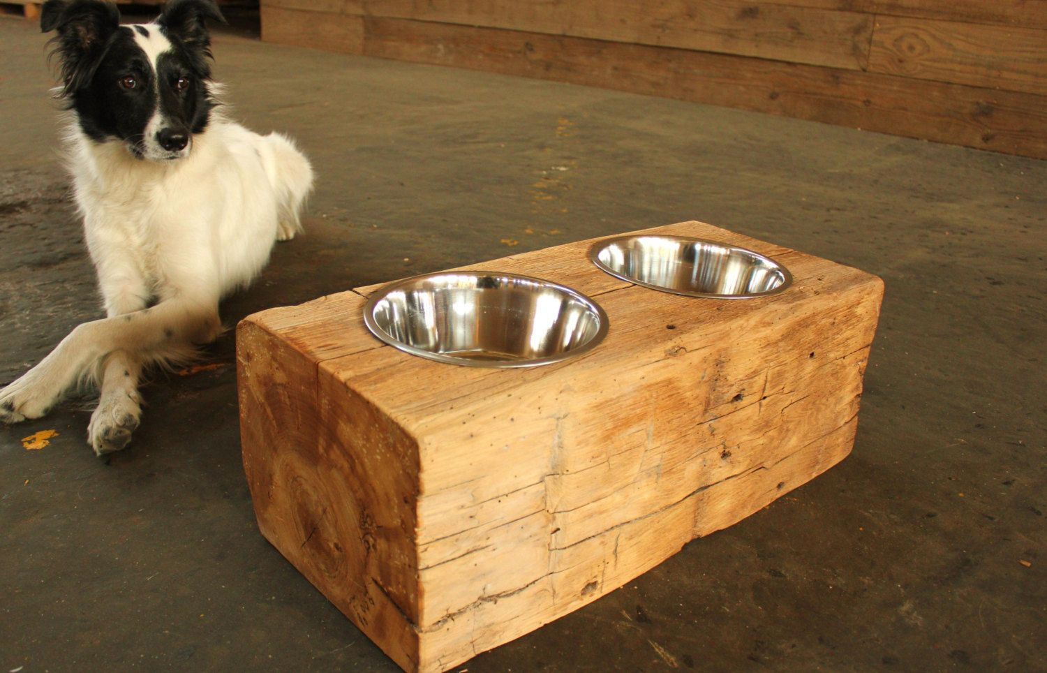 Wood Dog Dish Holder Reclaimed Barn Beam 2 Bowl Large Beams