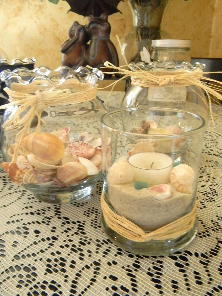 Beach wedding sand u shells large candle flower vase fish bowl