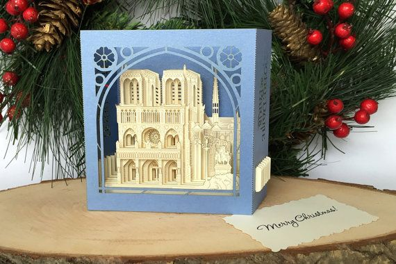 Christmas Gift Greeting Card France Notre-Dame de Paris Cathedrale ...