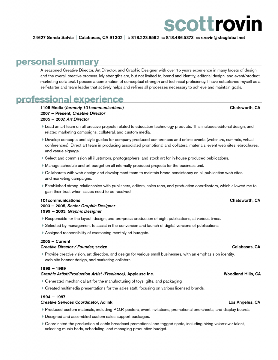 11 Art Director Resume Examples Sample Resumes Graphic Design