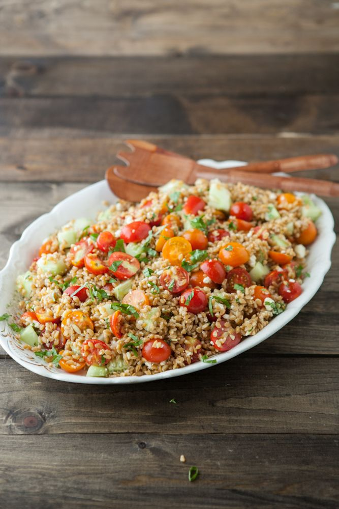 Summer Farro Salad. Refreshing, healthy & perfect for this time of year. Yum.