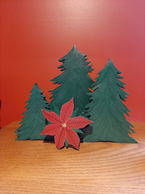 Set Of 3 Wood Christmas Trees Christmas Table Decor Christmas Decor Wood Pine Trees Hand Painted Wood Pine Trees Christmas Mantle Decor Christmas Mantle Decor Wood Christmas Tree Christmas Mantle