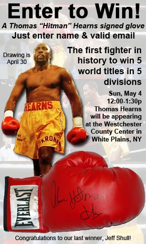 Visit Www Mab Celebrity And Enter The Contest For Your Chance To Win An Autographed Thomas Hitman Hearns Boxing Glove Boxing Gloves Mab Westchester County