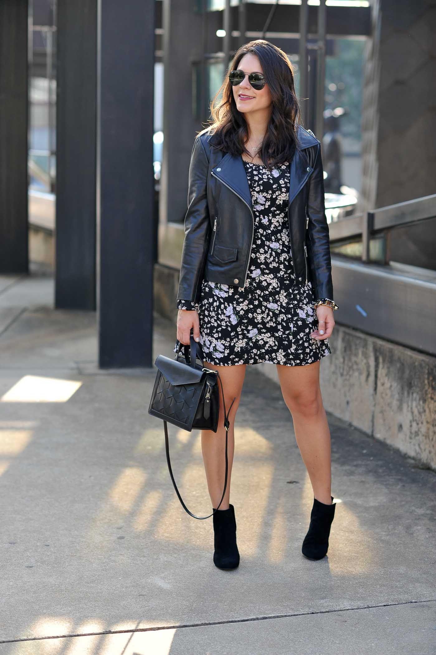 d4b18bce068 Black floral print dress+black heeled ankle boots+black motor leather  jacket+black shoulder bag+aviator sunglasses. Fall Dressy Casual  Evening  Party  ...