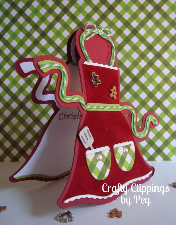 Christmas Card Apron Card Cookie Exchange by CraftyClippingsbyPeg