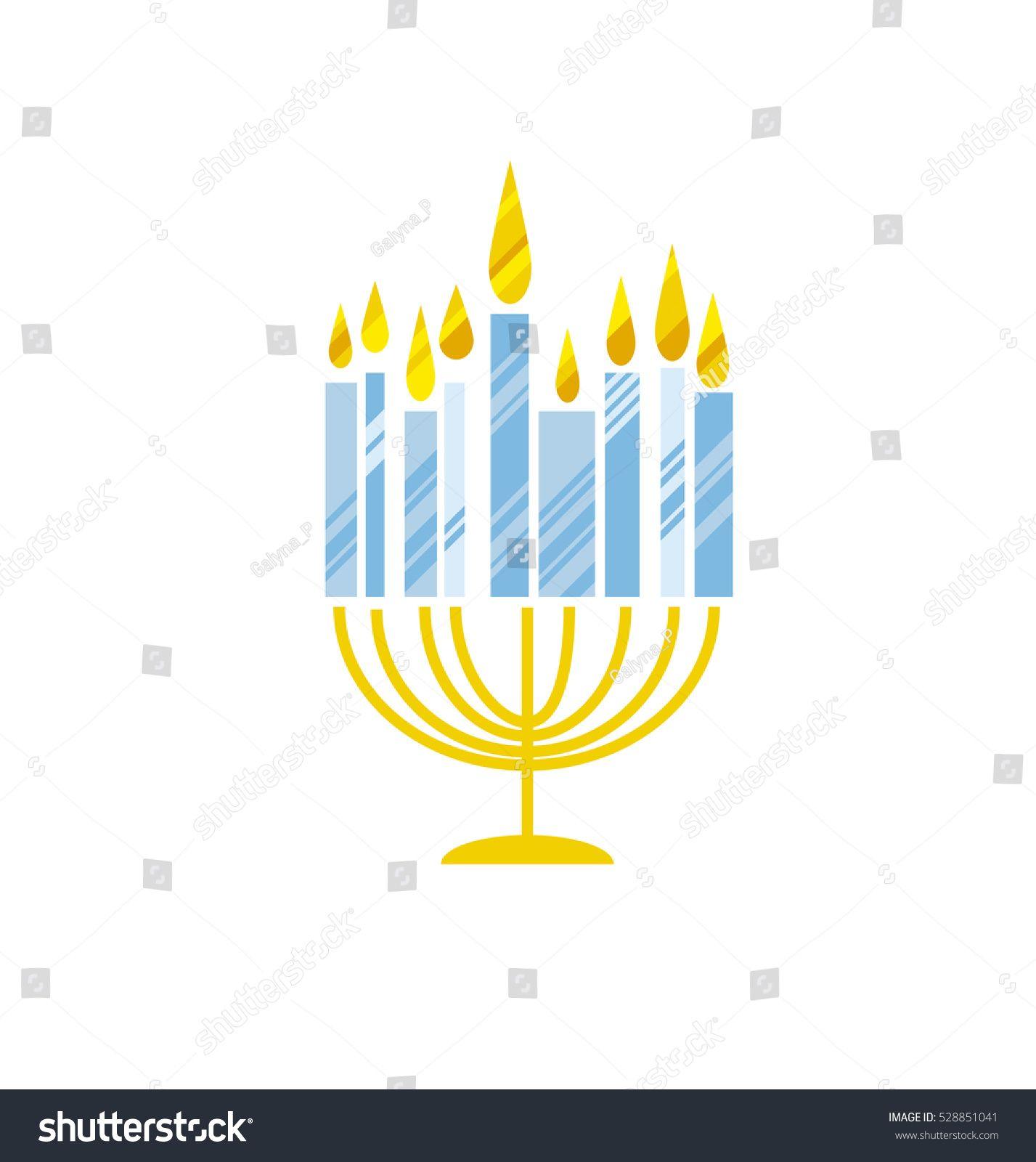 Hanukkah Menorah Vector Illustration Jewish Candles Simple Vector