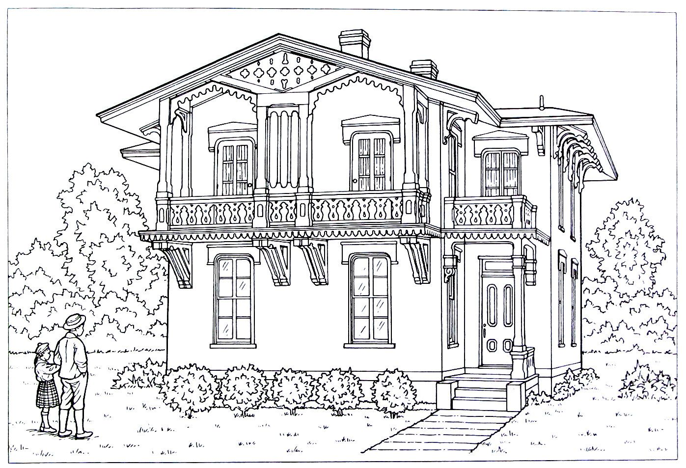 Victorian House printable coloring book page. Alpine style