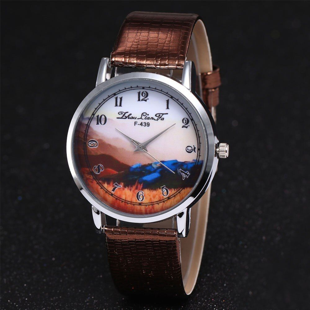 High End Montre Watch In Quartz Watches Leather Band Ladies Watch Landscape Clock Bayan Kol Saati Horloges Vrouwen Wh Leather Watch Womens Watches Leather Band