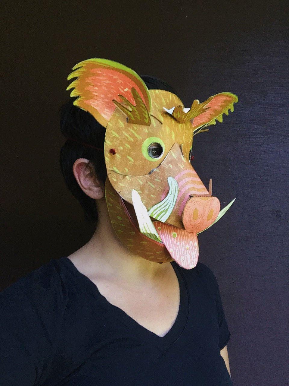 Mask - Wild Boar, DIY, Adults, Kids, Men, Women | Máscaras, Mascaras ...