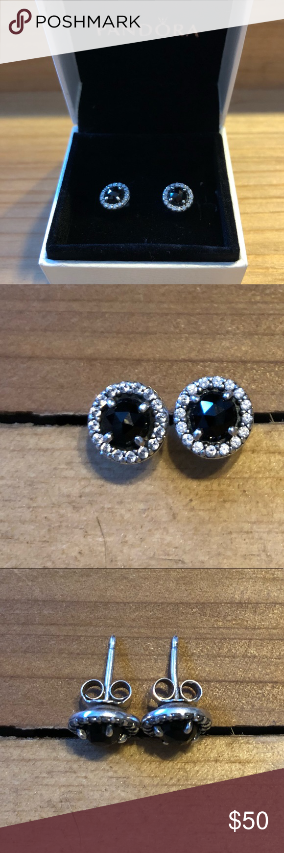 fda9e8372 ... czech pandora glamorous legacy studs black spinel cz silver stud earring  with black spinel and 42727 ...