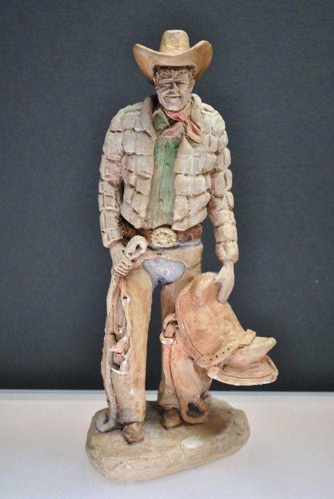 Hand Made Vintage Ceramic Cowboy 12 1 2 Statue Holding Rope Saddle Ebay Link With Images Statue Vintage Ceramic Vintage