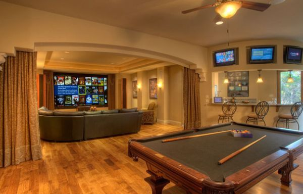 Indulge Your Playful Spirit With These Game Room Ideas Game Room Basement Home Theater Design Media Room Design